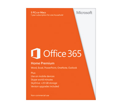 Microsoft Office 365 Home Premium 5 Device 1-Year Subscription PKC Retail Box