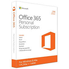 Microsoft Office 365 Personal 1 User + 1 Tablet, 1-Year PKC (PC/Mac) Retail Box