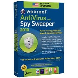 Webroot Antivirus With Spy Sweeper 2010 3PC Retail Box